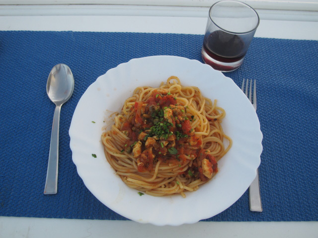 Spaghetti mit Meeresfrüchten auf dem Atlantik