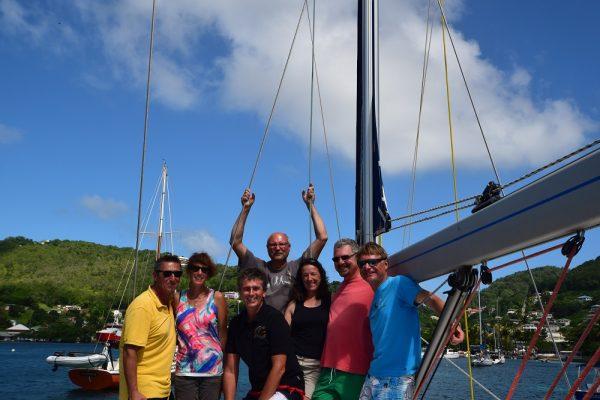 Die glücklichen Atlantiküberquerer kurz nach der Ankunft in der Karibik nach 22 Tagen auf See