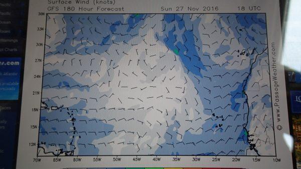 Der Wetterbericht sieht auch nicht berauschend aus – von wegen Passat, ein riesiges Schwachwindfeld hat sich zwischen den Kap Verden und der Karibik gebildet