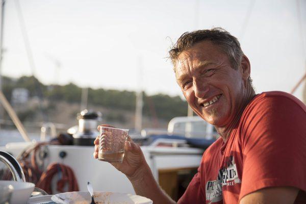 Skipper in bester Laune