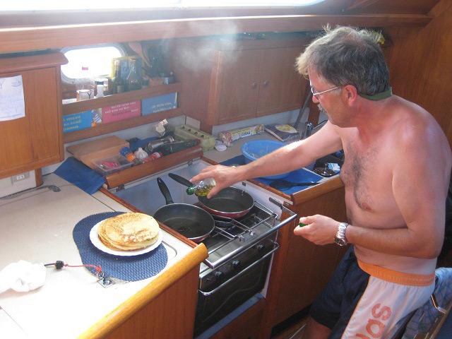 Pfannkuchen am vorletzten Tag der Atlantiküberquerung