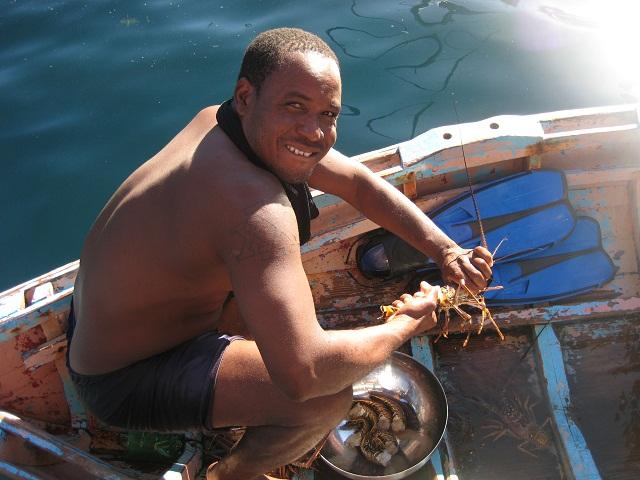 wir kaufen frischen Lobster auf St.Vincent