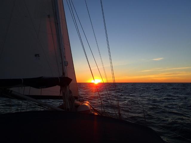 Der erste Abend auf dem Atlantik