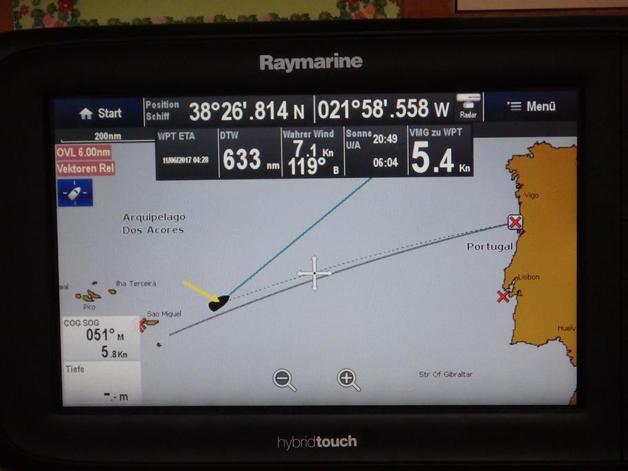 Der Wegpunkt ist gesetzt – noch 633 sm bis Porto