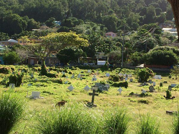 Der herrlich überwachsene Friedhof von Bequia