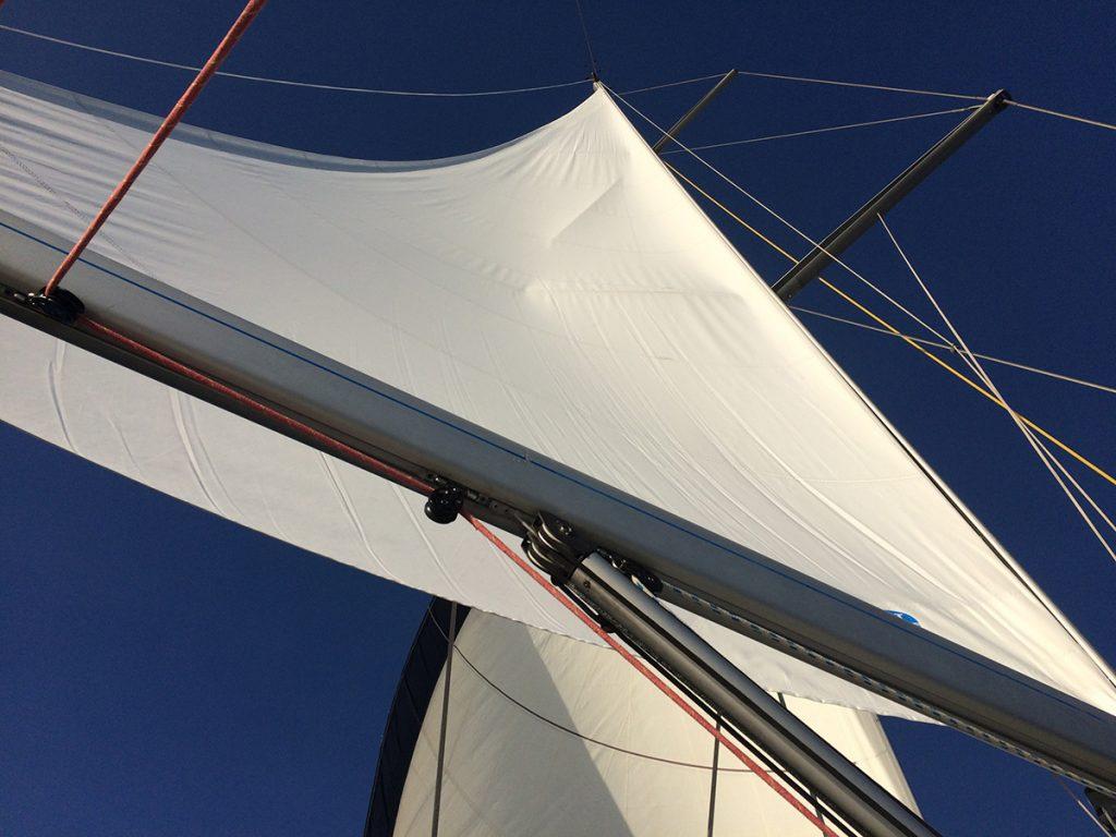 Sailing under a blue sky
